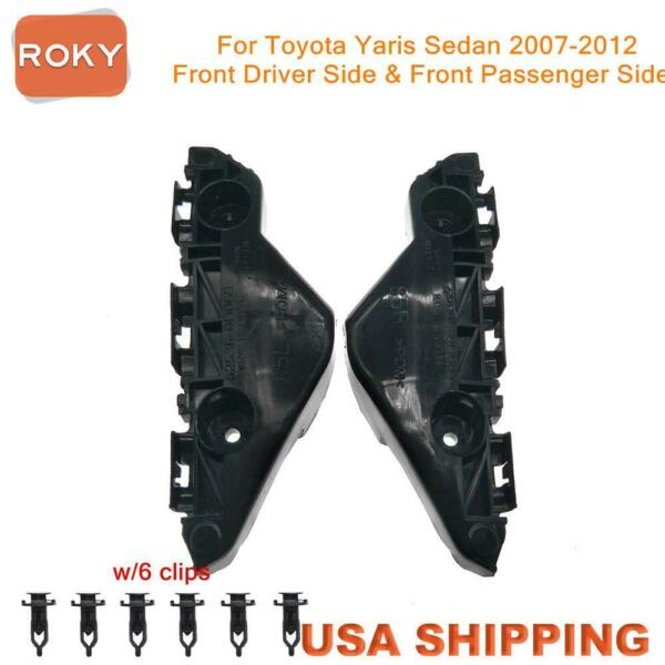 For Yaris Sedan 2007 2012 Bumper Bracket Retainer Front 2PC Beam Mount Support $13.18