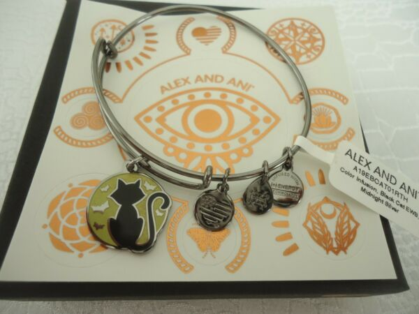 Alex and Ani BLACK CAT Color Infusion Midnight Silver Bangle New WTag Card Box