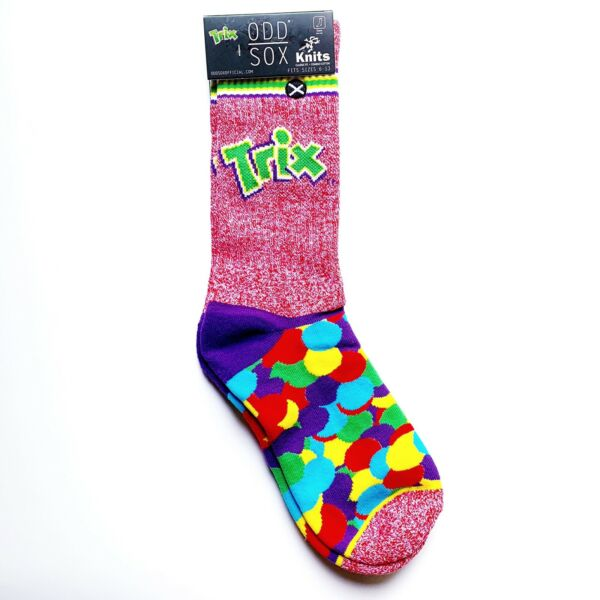 NWT New Odd Sox Trix Fruit Cereal Crew Socks Red Green Rainbow