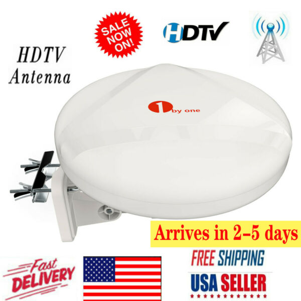 1byone 100 Miles TV Antenna Amplified Upgrade Omni Directional HDTV FMVHFUHF