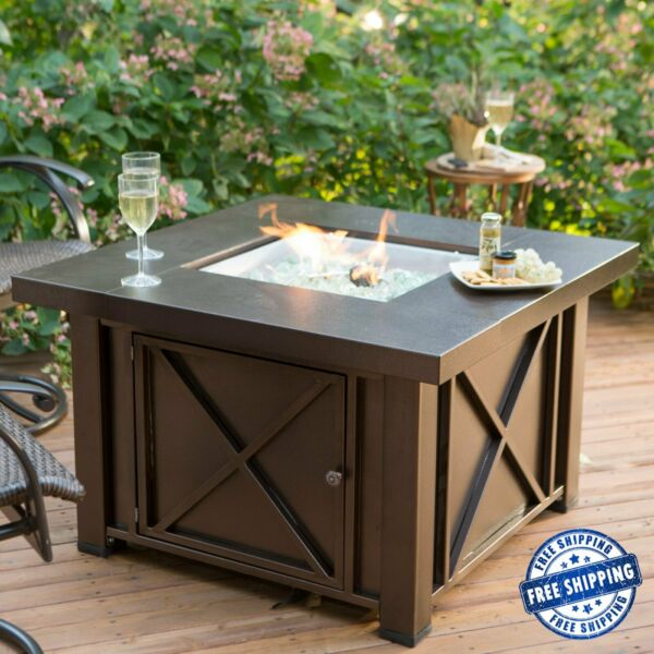 Square Gas Fire Pit Table Outdoor Patio Backyard Heater Rustic Bronze Finish