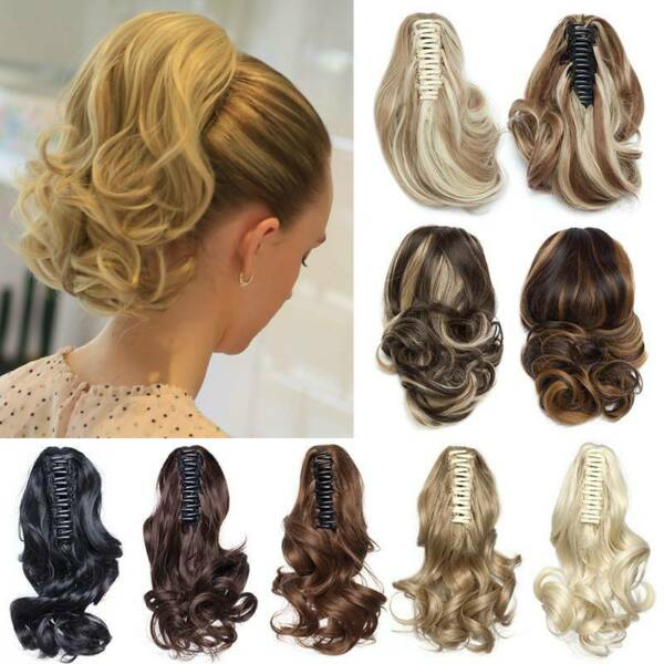 Short Mega Thick Claw Clip in Hair Extensions Ponytail as Natural Human Hair T