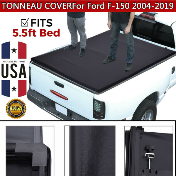 For 2004-2019 Ford F-150 5.5ft Short Bed Tri-Fold Tonneau Cover Clamp-On US Lot