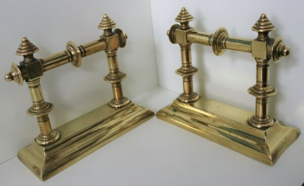ANTIQUE SOLID BRASS FIRE DOGS  VICTORIAN  VINTAGE OLD ANDIRONS LOGS HEARTH