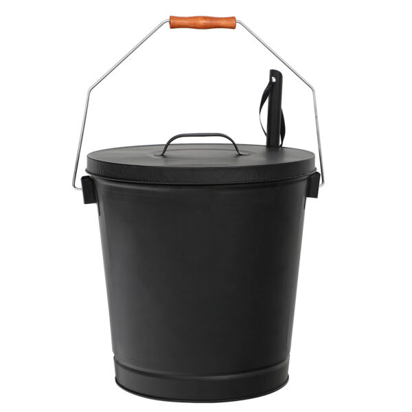 Fireplace Metal Hot Ash Covered Fireproof Bucket with Lid Wood Burning Stoves