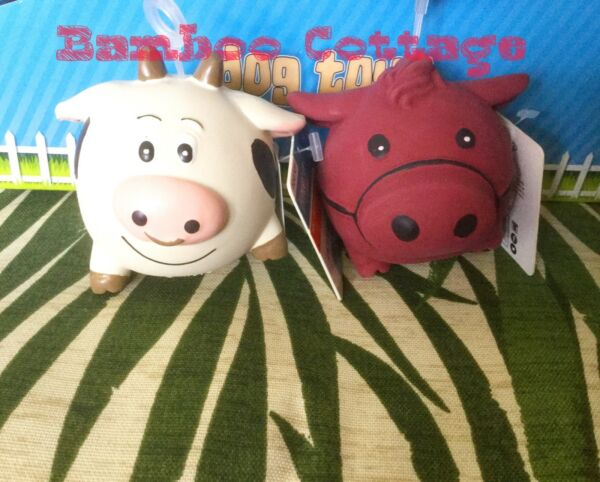Multipet Latex Animal Ball Dog Toy set of TWO farm animals Horse Cow SET
