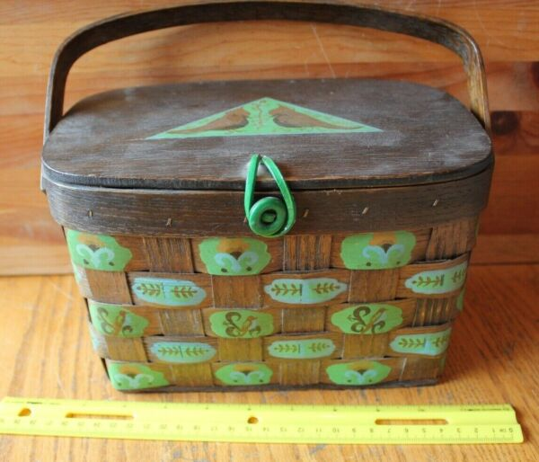 Clover House original mini Picnic Basket Vintage hand painted child's doll toy
