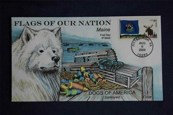 Flags of Our Nation Stamp FDC HP Collins#Z4423 Sc#4295 Maine Samoyed Dog Moose $13.95