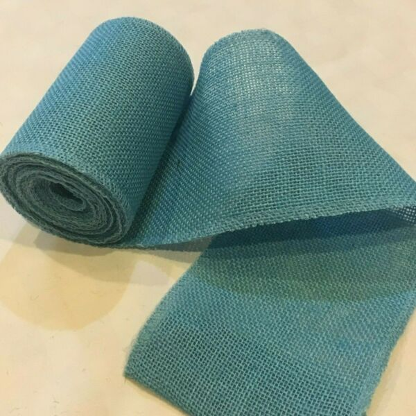 6quot; wide Light Blue Burlap Ribbon 10 Yard Roll 10 oz 30 feet Finished Edges BS162