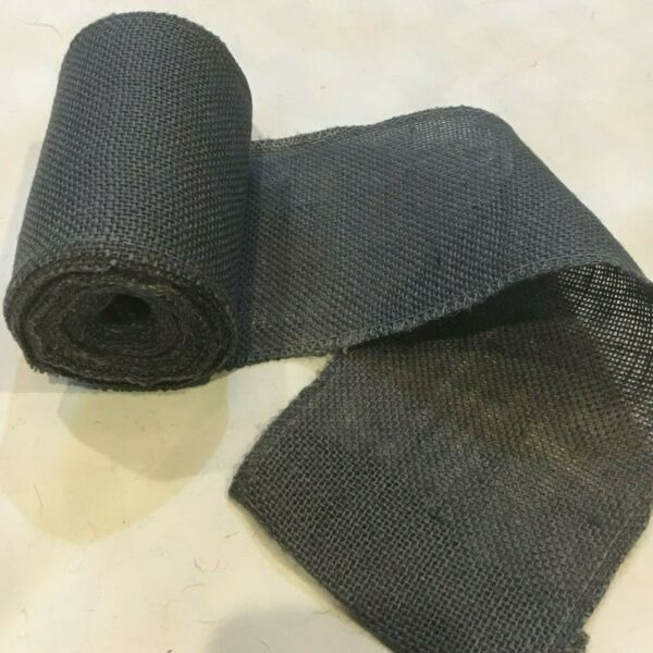 6quot; wide Dark Gray Burlap Ribbon 10 Yard Roll 10oz 30 feet Finished Edges BS168