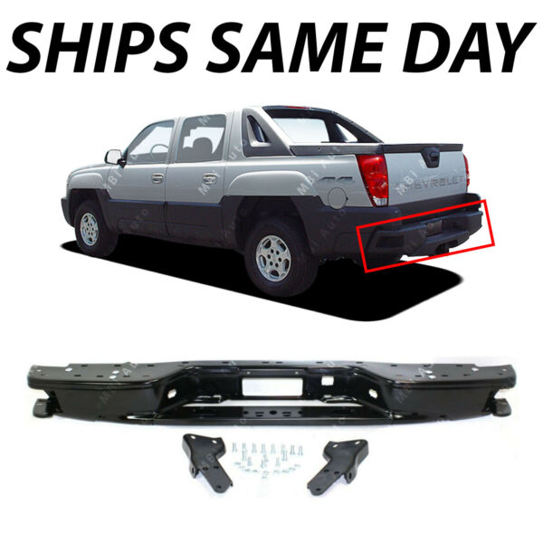 NEW Black Steel Rear Bumper Impact Bar for 2002 2006 Chevy Avalanche 02 06