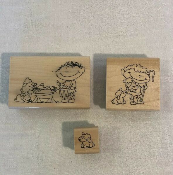 Lot of 3 Stampendous THE NATIVITY CAST Wood Rubber Stamp Drummer Shepard Lamb