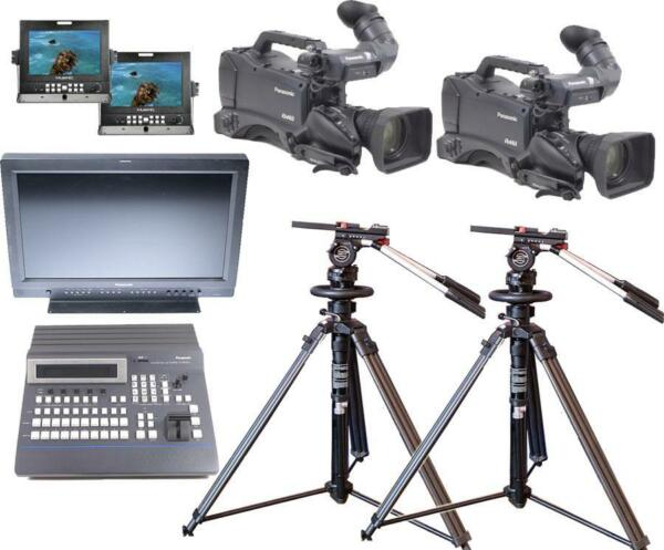 Panasonic MultiCam HD Studio Package w Switcher Monitor Sachtler Peds