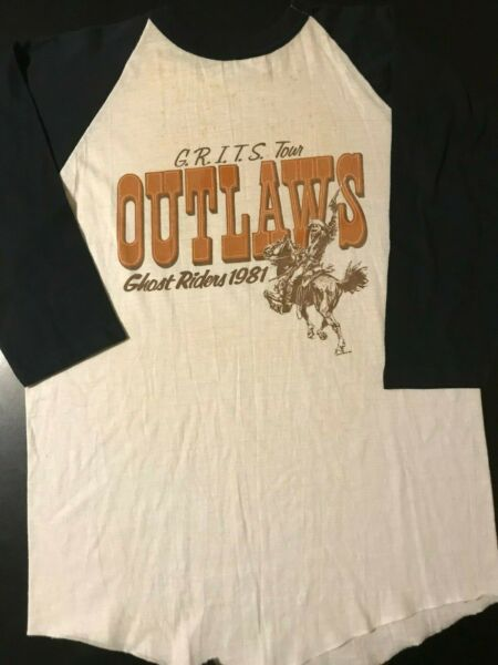 Vintage 80s 1981 Outlaws Holiday Stampede Concert Tour T-Shirt Country Rock