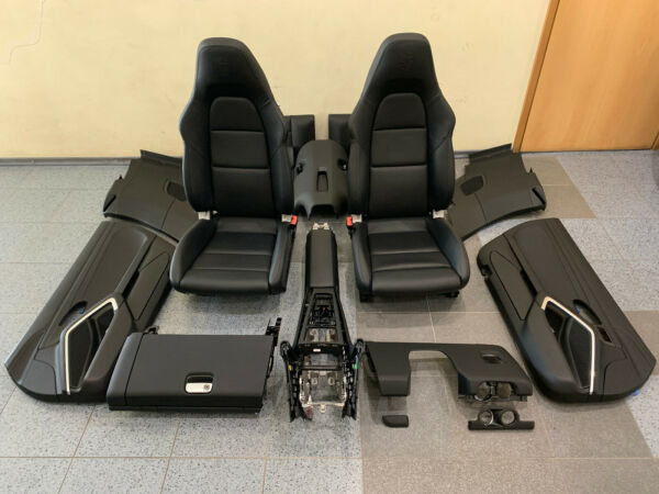 PORSCHE 911 991 TURBO S CABRIO BLACK LEATHER SET SEATS + DOOR PANEL LHD CAR