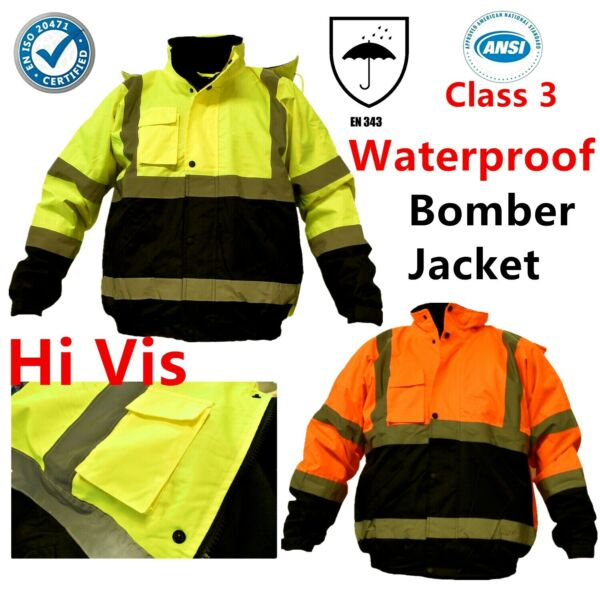 Hi Vis Waterproof Class 3 Insulated Heavy Duty Winter Safety Bomber Jacket Coat