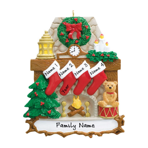 PERSONALIZED Fireplace Stockings Family of 4 Christmas Tree Ornament Gift