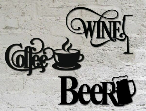 14quot; Black Wine Beer and Coffee Home Wall Decor Metal Signs for Kitchen Bar