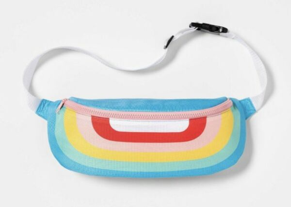 Rainbow Insulated Fanny Pack Cooler Hip Bum Waist Bag Colorful Drinks Snacks