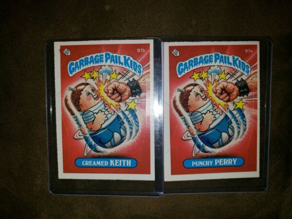 1986 Garbage Pail Kid Cards #97a b Punchy PERRY Creamed KEITH MINT AUTH CARDS