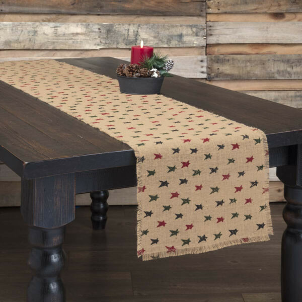 Primitive Stars Jute Burlap Table Runners amp; Place Mats Natural Green Red
