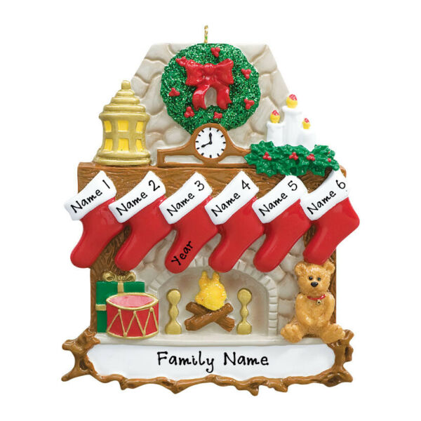 PERSONALIZED Fireplace Stockings Family of 6 Christmas Tree Ornament Gift