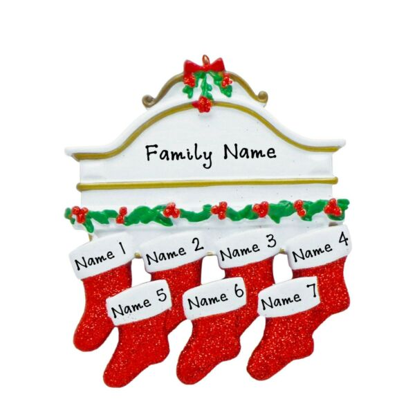 PERSONALIZED Stockings on Fireplace Mantle Family of 7 Christmas Tree Ornament