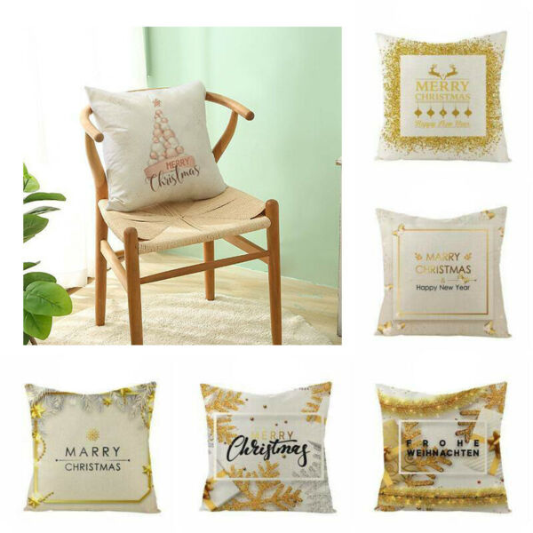 Linen Cover Case Home Cushion Gold Pillow Decor Christmas Snowflake Rose 18quot; $3.09