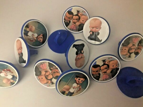 24 BOSS BABY cupcake toppers RINGS birthday party favor cake