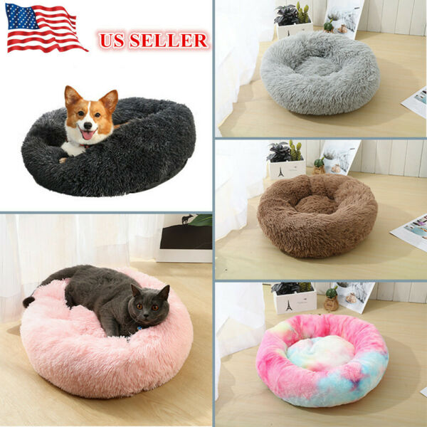 Pet Dog Cat Calming Bed Round Nest Warm Soft Plush Comfortable Sleeping Bed Nest