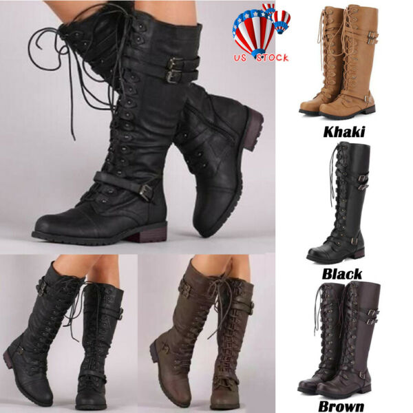 Womens Lace Up Thigh Knee High Boots Ladies Combat Army Flat Biker Shoes Size6-9