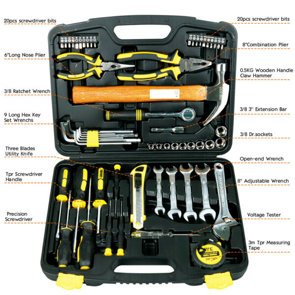 61-Piece Homeowner General Portable Repair Hand Tools Kit with Plastic Tool Box