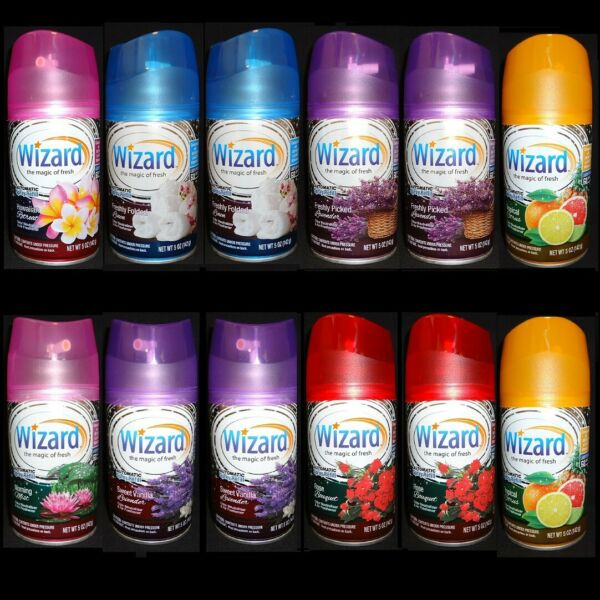 12 Wizard Automatic Spray Refill Fits Air Wick Glade 7 Scent-Mixed Assorted 5oz