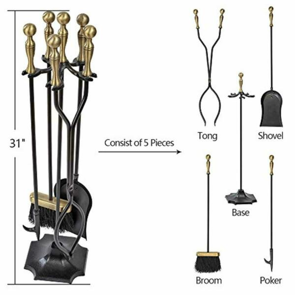 5 Pieces Fireplace Tools Sets Brass Handles Wrought Iron Fire Place Tool Set and