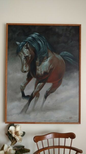 hand painted art oil painting on canvas Framed Original Arabian Stallion