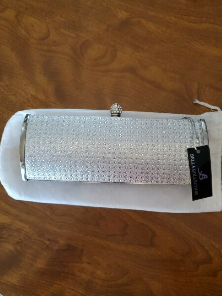 BELLA Collection Silver Rhinestone Long Envelope Evening Purse. NWT