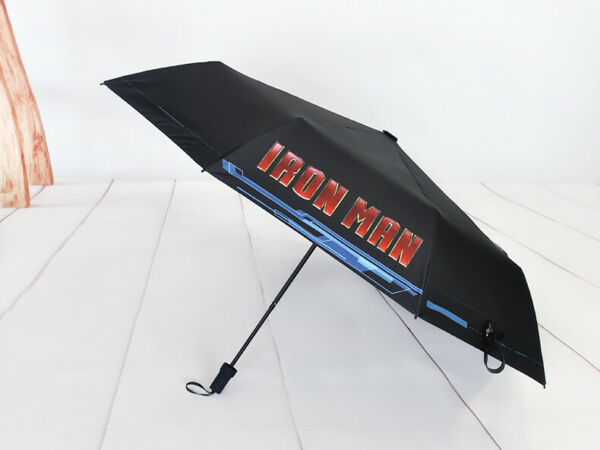 New Type Iron Man Automatic Black Cool Comic Cosplay Umbrella For Boy Gift