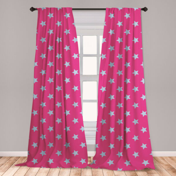 Blue and Pink Microfiber Curtains 2 Panel Set Living Room Bedroom in 3 Sizes