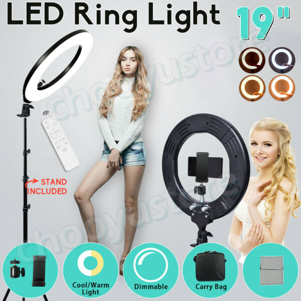19quot; LED SMD Ring Light Kit Live Stand Dimmable 5500K Makeup Phone Holder Camera