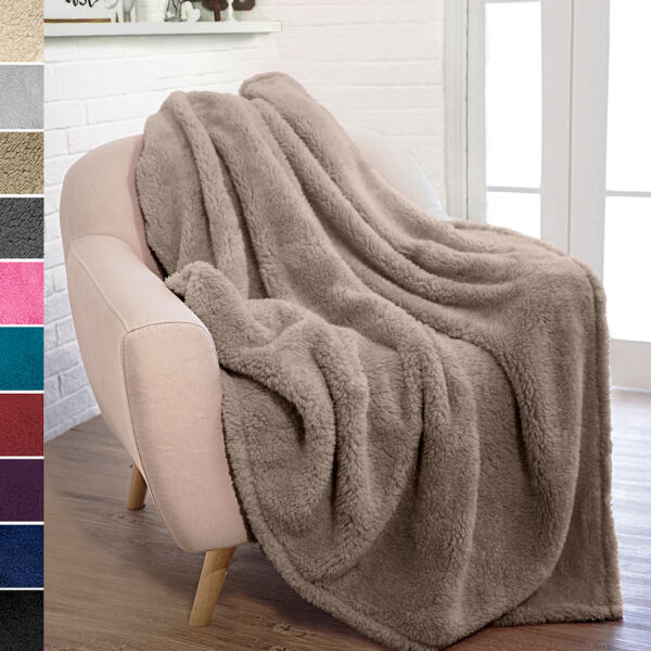 Soft Fuzzy Warm Cozy Throw Blanket with Fluffy Sherpa Fleece for Sofa Couch Bed $19.99
