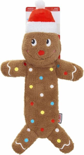 Kong Holiday Low Stuff Speckles Gingerbread Man Dog Toy  Free Shipping