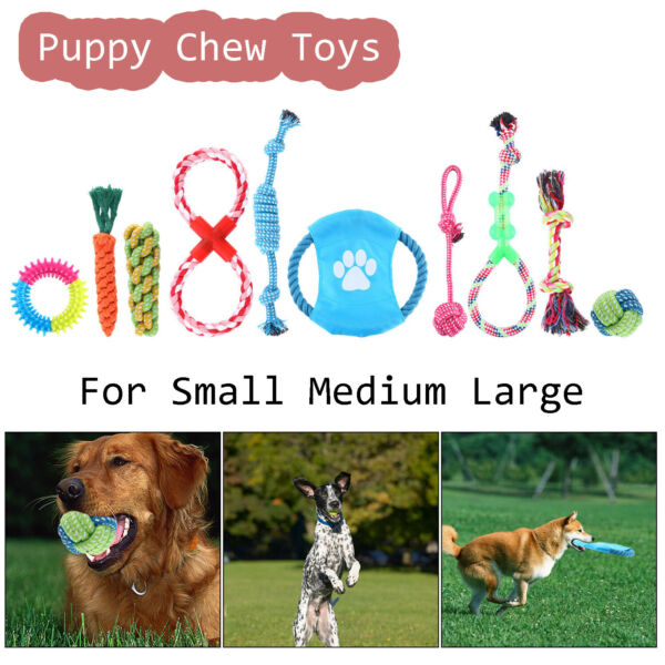 Set of 10 Colorful Dog Rope Toys Puppy Chew Toys Stress-Free Dog Training Gifts