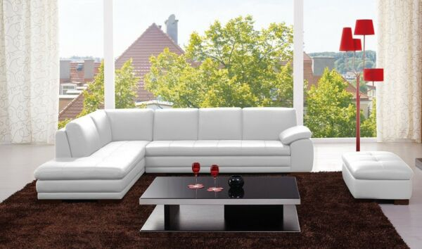 625 Contemporary Premium White Leather Upholstery Sectional Sofa