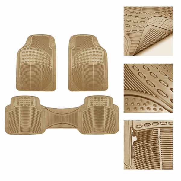 Universal Floor Mats for Car All Weather Heavy Duty 3pc Set Beige $18.99