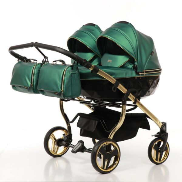 Premium Twin Pram Junama Fluo Line Duo Green+Black+Gold Double Buggy Baby Twins