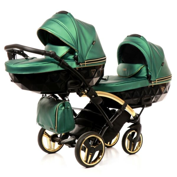 Premium Twin Pram Junama Fluo Line Duo Slim Green+Black Double Buggy Baby Twins