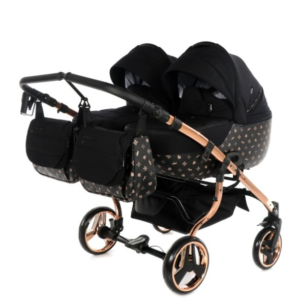 Premium Twin Pram Tako Laret Imperial Duo Black+Rose Gold Double Buggy Baby Twin