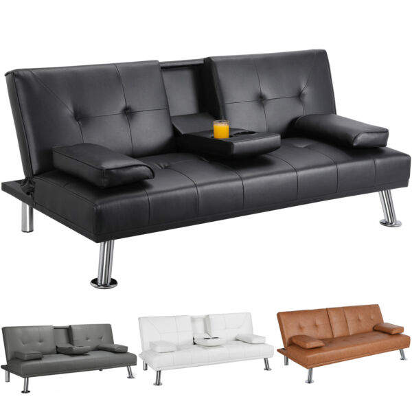 Modern Faux Leather Futon Sofa Bed Fold Up amp; Down Recliner Couch with Cup Holder