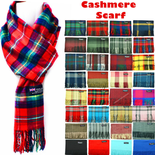 Winter Womens Mens 100% Cashmere Plaid Solid Scarves Wool Scarf Scotland Made