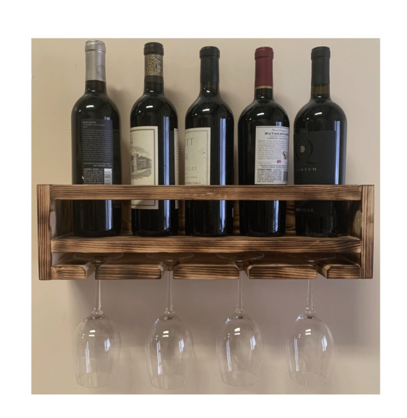 iTsUSApro Rustic Burnt Wood wine bottle glass Wall Rack Handmade in The USA $47.95